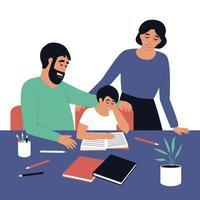 pai e mãe observam seu filho lendo um livro vetor