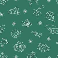 padrão de Natal sem costura branco sobre fundo verde vetor