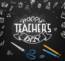 feliz Dia dos professores. quadro-negro escolar com elementos de doodle vetor