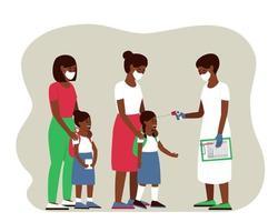 crianças afro-americanas têm sua temperatura medida vetor
