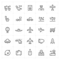 ícones de linha de avião e aeroporto. ilustração vetorial no fundo branco. vetor