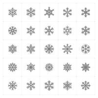 ícones de linha de floco de neve. ilustração vetorial no fundo branco. vetor