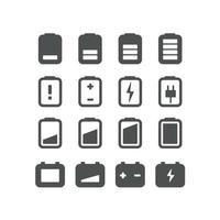 conjunto de vetores de ícones da web. pictogramas de baterias