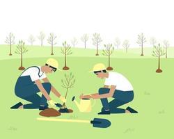 jardineiros plantam frutas com caroço na primavera vetor