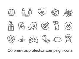 conjunto de ícones de campanha de proteção contra coronavírus vetor