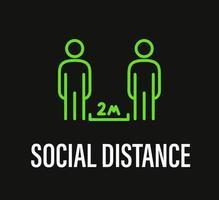 distância social. campanha de proteção contra coronavírus vetor