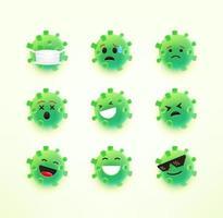 emoji de coronavírus com emoções diferentes vetor