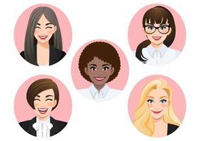 conjunto de vetor diversificado de mulheres de negócios sorridente