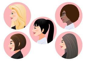 conjunto de rostos de mulheres de negócios em perfil para personagem de vista lateral de pose, diversidade. avatares. ilustração em vetor plana