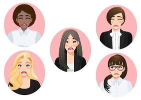 conjunto de vetor diversificado de mulheres de negócios de humor triste