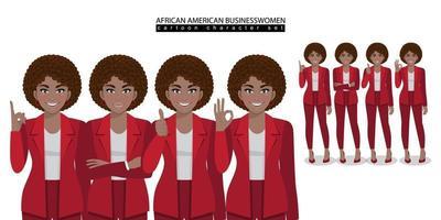 personagem de desenho animado de mulher de negócios afro-americana em diferentes poses ilustração vetorial isolada vetor