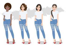 conjunto de meninas diversas com penteados diferentes em camisetas brancas e vetor de jeans azul