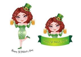 a garota de st.patrick em conjunto de roupa irlandesa vetor
