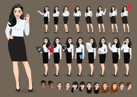 conjunto de personagens de desenhos animados de mulher de negócios. linda mulher de negócios em camisa branca de estilo de escritório. ilustração vetorial. vetor