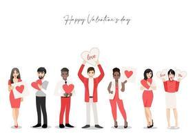 personagem de desenho animado com grupo de pessoas segurando corações. festival do dia dos namorados. ilustração vetorial de amor e voluntariado vetor