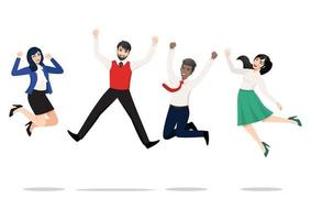 empresários pulando comemorando a vitória. pessoas multirraciais alegres comemorando juntos. um grupo diversificado de felizes colegas da equipe da empresa pulando. coleção de personagens vencedores de vetor plana