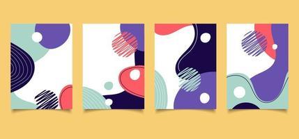 conjunto de design de brochura de capa criativa padrão de forma líquida colorida com linhas no fundo branco vetor