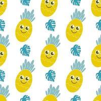sorrindo folhas de abacaxi e monstera em um fundo branco. padrão sem emenda de vetor brilhante e suculento. decoração infantil, frutas, bagas