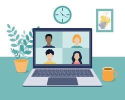 videoconferência, comunicação de vídeo online com colegas, amigos e alunos em casa ou no escritório. trabalho remoto, treinamento. tela do laptop com quatro pessoas. ilustração vetorial no apartamento vetor