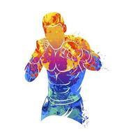 lutador de artes marciais mistas abstrato do respingo de aquarelas. ilustração vetorial de tintas vetor