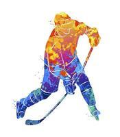 jogador de hóquei abstrato de um toque de aquarelas. esporte de inverno. ilustração vetorial de tintas vetor