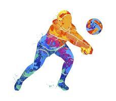 jogador de voleibol abstrato pulando de um toque de aquarelas. ilustração vetorial de tintas vetor