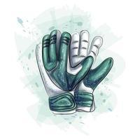 luvas de goleiro. luvas de futebol em fundo branco. ilustração vetorial vetor