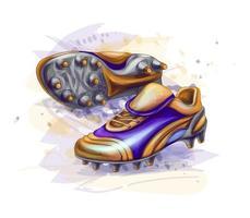 mão desenhada botas de futebol. tênis de futebol. ilustração vetorial vetor