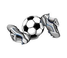 botas de futebol com bola em um fundo branco. ilustração vetorial vetor