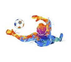 o goleiro de futebol abstrato está pulando para a bola de futebol de um respingo de aquarelas. ilustração vetorial de tintas vetor