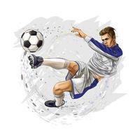 jogador de futebol chuta a bola. ilustração vetorial vetor