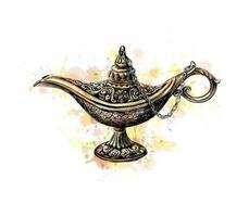 lâmpada mágica com celebração de eid mubarak. ilustração vetorial vetor