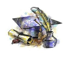 diploma de graduação com um boné de pós-graduação e uma caneta de um toque de aquarela, esboço desenhado à mão. ilustração vetorial de tintas vetor