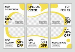 mídia social postar modelo em estilo quebra-cabeça de grade para promoção digital. conjunto de banner quadrado editável para postagem de moda no ig. adequado para postagem em mídia social e anúncios na internet na web ilustração vetorial vetor