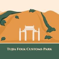 parque aduaneiro popular de tujia em zhangjiajie hunan, china. parque cultural com arquitetura tradicional tujia. bom para destino turístico com edifícios clássicos. ilustração em vetor plana dos desenhos animados