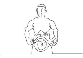 um desenho de linha contínua de uma jovem boxeadora desportiva posar como uma vencedora. um boxeador profissional vence em lutas de boxe. conceito de esporte de combate competitivo isolado no fundo branco. design minimalista vetor
