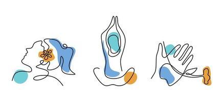 conjunto de figura feminina minimalista abstrata, mão de mulher e pose de lótus de ioga isolado no fundo branco. tema de mulher de beleza. ilustração vetorial de moda feminina em um estilo linear moderno. vetor