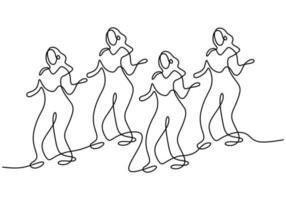 desenho de linha contínua de grupo de meninas na dança zumba. quatro enérgicas mulheres jovens praticam a dança isolada no fundo branco. esporte de dança e conceito de estilo de vida saudável. ilustração vetorial vetor