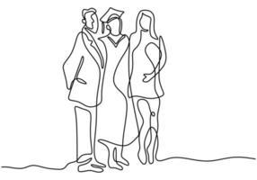 um desenho de linha contínua do aluno de graduação. estudante feliz que é a foto de formatura com os pais isolados no fundo branco. conceito de celebração de formatura. estilo minimalista de vetor