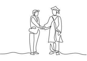 um desenho de linha única de um estudante graduado com palestrante isolado no fundo branco. um conferencista dá diplomas aos alunos e aperta as mãos. conceito de graduação de educação. ilustração vetorial vetor