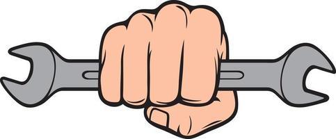 mão segurando ilustração vetorial de chave inglesa vetor