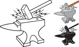 ilustração vetorial de bigorna e martelo vetor