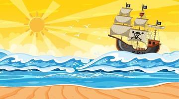 cena de praia ao pôr do sol com navio pirata em estilo cartoon vetor