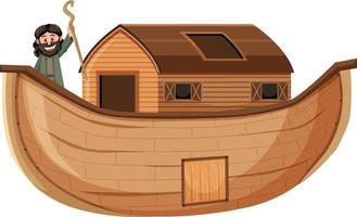 noé sozinho em sua arca, isolado no fundo branco vetor