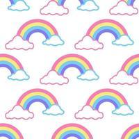 vetor sem costura padrão colorido arco-íris com nuvens no fundo branco, decoração infantil