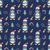 pinguim com um presente e árvores de Natal e outros elementos decorativos em um fundo azul escuro. impressão de Natal e ano novo. padrão sem emenda do vetor. decoração infantil vetor