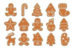 grande conjunto de boneco de neve de Natal, pirulito, árvore de Natal, casa, meia, estrela, boneco de neve, veado, luva. coleção de Natal de figuras de biscoito de gengibre. ilustração em vetor plana