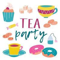 kit de festa do chá. muffin, canecas, açúcar, doces, biscoitos, saquinho de chá, donuts. cores brilhantes e suculentas em um fundo branco. imagem vetorial vetor