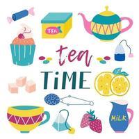 kit de festa do chá. muffin, doce, caixa de chá, bule, saquinho de chá, açúcar, limão, xícara, morango, leite. cores brilhantes e suculentas em um fundo branco. imagem vetorial vetor
