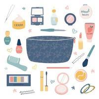 um grande conjunto de itens para maquiagem e cuidados pessoais de uma bolsa de cosméticos batom, creme, rímel, sombra para os olhos, pente, pó, etc. Imagem plana vetorial de bolsa feminina em um fundo branco vetor